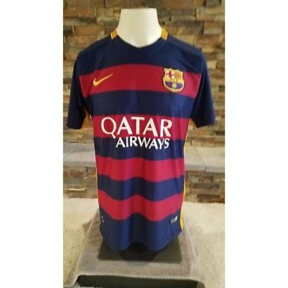 the best attitude 63164 28073 Messi FC Barcelona Qatar Dri Fit Soccer Jersey LG